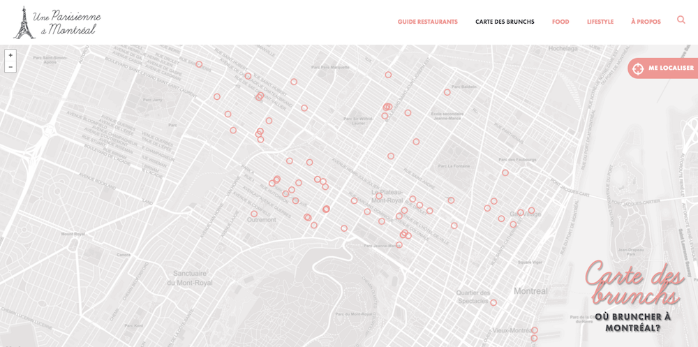 carte brunch montreal map